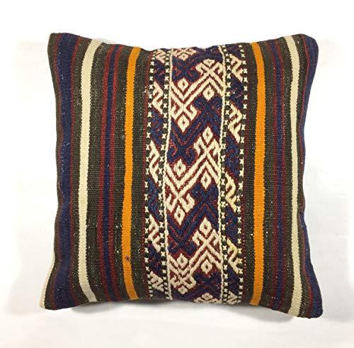 Kelim Kissen 40x40 cm Kissenbezug Orientalisch Handgefertigt Teppiche Kilim Kissenhülle aus Wolle Oushak Uschak Türkisch Handarbeit code 162