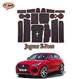 Coche Interior Puerta Seguridad Pad Cup Alfombrillas,para Jaguar E-Pace Alfombrillas de Goma Antideslizante,Anti-Polvo, decoración automotriz con Logo,17 PCS/Set,Rojo