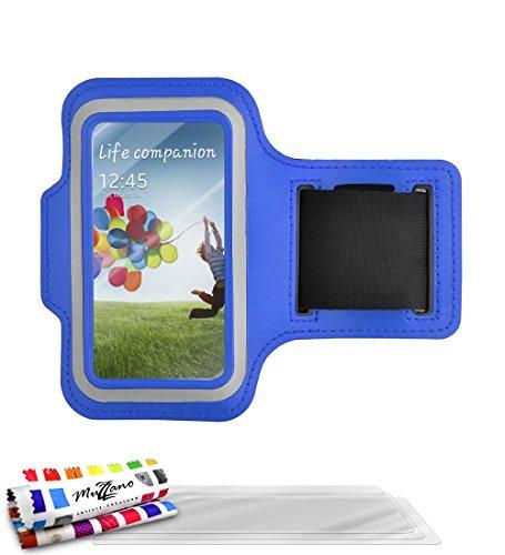 MUZZANO Echte Armband met 3 Ultraclear Screen Protector voor Samsung Galaxy S4 Advance - Blauw