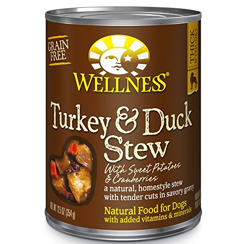 Wellness Thick & Chunky Natural Grain Free Canned Dog Food, Turkey & Duck Stew, 12.5-Ounce Can (Pack of 12)