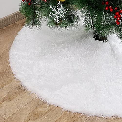 XinQing Árbol de Navidad Falda de Felpa Blanca Redonda Blancanieves Árbol de Navidad Cojín Funda de Base Decoración de Navidad Decoración de Fiesta de año Nuevo(Size:78cm)