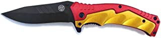 Hero Line Man of Iron Red and Gold Spring assisted Folding Pocket Knife Arc Reactor