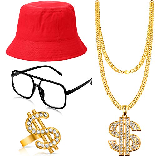 Hip Hop Costume Kit Bucket Hat Sunglasses Gold Chain Ring 80s/90s Rapper Accessories (White)