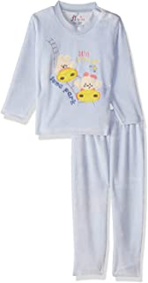 Jockey Front Embroidery Long Sleeves Round Neck Sweatshirt with Pants Pajama Set for Boys