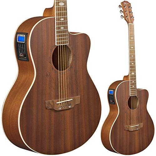 Lindo Feeling Elektro-Akustik Gitarre mit Vorverstärker, digitalem Tuner, XLR Anschluss/ Klinkenbuchse und Gitarrentasche