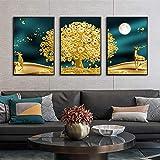 Cuadros del cartel Sin marco Cartel de la lona del árbol de oro Ciervo dorado Árbol del dinero Imagen de la pared Arte de la pared Naturaleza muerta -60x90cm / 23.6 'x35.4' X3 Sin marco
