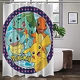 Pokémon-Duschvorhang, hohe Temperaturwiderstandsfähigkeit, farbenfroh, langlebig, wasserdicht, ungiftig