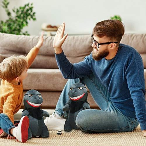 3D - Cojín de peluche con diseño de dinosaurio, diseño de dinosaurio, color negro