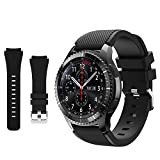 Compatible with Samsung Galaxy Watch 3 45mm Band - Gear S3 Frontier & Classic Bands/ Galaxy Watch 46mm bands, 22mm Soft Silicone Replacement Breathable Sport Bands straps for Men and Women (Black)