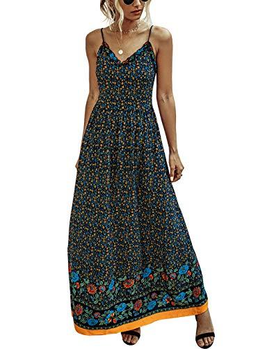 KIRUNDO 2021 Summer Women's Spaghetti Maxi Dress V Neck High Waist Backless Adjustable Straps Floral Boho Dress (Navy, Large)
