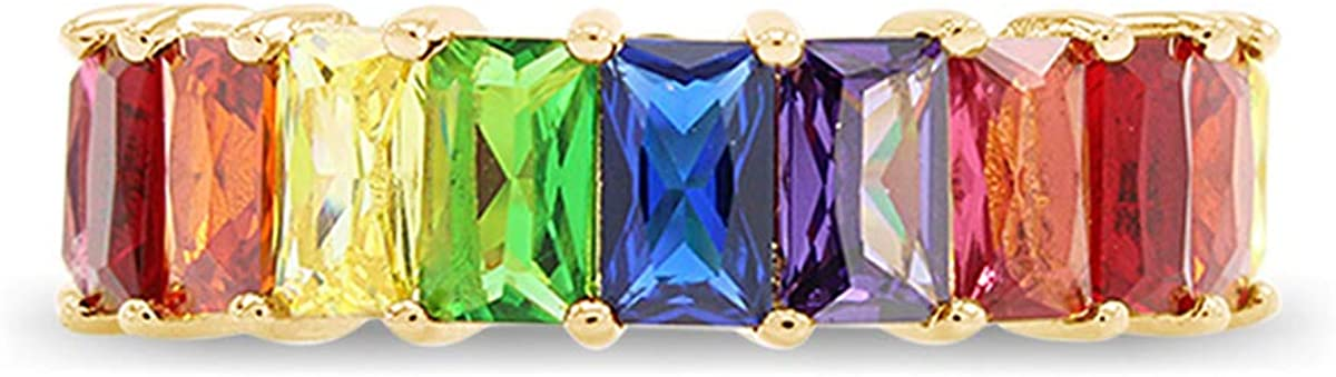18K Yellow Gold Plated Emerald-Cut Multi Color AAA Created-Gemstone Eternity Ring Rainbow