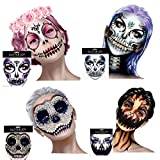 4 Pack Day Of The Dead Skull Temporary Rhinestone Face Tattoo,Face Stickers Gems Jewels for Halloween