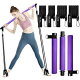 Pilates Exercise Stick Kit with 4 (2 Strong & 2 Standard) Resistance Bands,Portable Compact 3-Section Yoga Resistance Bands for Legs and Butt, Pilates Bar with Foot Strap for Full Body Workout