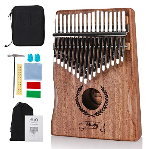 Mugig Kalimba 17 keys with Protection Box and Tune Hammer, Portable Thumb Piano Mbira Sanza Mahogany Body Ore Metal Tines