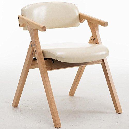 KSUNGB Chaise Pliante en Bois Chaise de Salle à Manger Loisir Chaises de Balcon Étudiant Bureau Chaise d'ordinateur Pliant Bois de Caoutchouc Cuir de Cire d'huile, Blanc