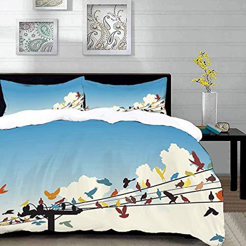 ropa de cama - Juego de funda nórdica, colorido, Siluetas temáticas de animales de coloridas aves posadas en el patrón de cables de telégrafo, azul, Juego de funda nórdica de microfibra con 2
