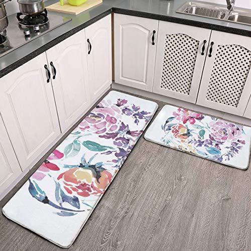 Juego de 2 alfombras de cocina, diseño floral de acuarela con marco redondo rosas rojas, alfombra de franela súper suave, alfombra de pasillo, antideslizante, lavable, juego de alfombras de baño