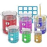 Wandefol 6pcs Vaso Cristal de Laboratorio, Vaso de Vídrio Graduado, Vaso Medidor Borosilicato 25 50 100 250 400 600ml para Escuela Laboratorio Experimento Hospital Cosmético con Etiquetas Cepillo