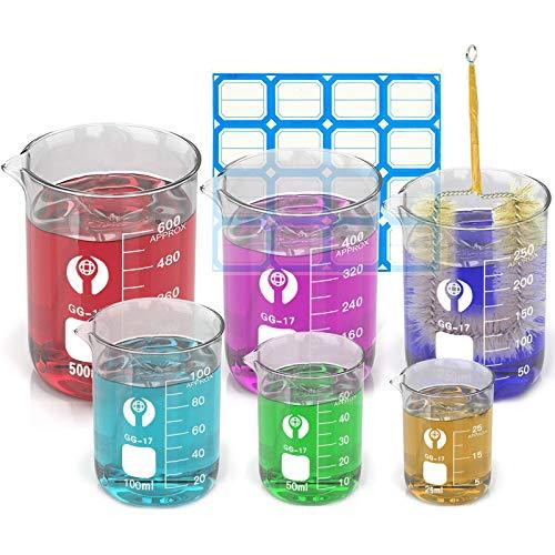 Wandefol 6pcs Vaso Cristal de Laboratorio, Vaso de Vídrio Graduado, Vaso Medidor...