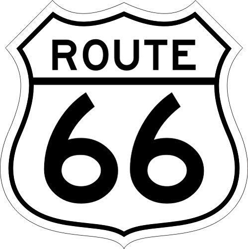 Pegatina Route 66 blanco I 10 x 10 cm I Escudo para moto Chopper Van Roller nevera Laptop o como Auto adhesivo I kfz_523