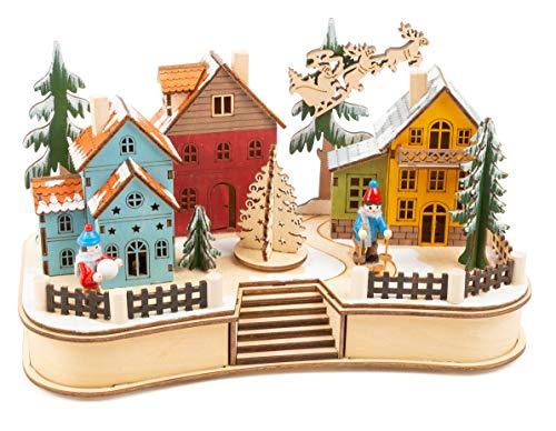 """11391 Lampada """"Villaggio natalizio"""", in legno, paesaggio invernale con illuminazione"""