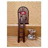 Puerta Ratoncito Pérez mágica con Carta, Escalera y Bolsita. Regalo original niño niña Ratón Pérez. Hecho a mano en España