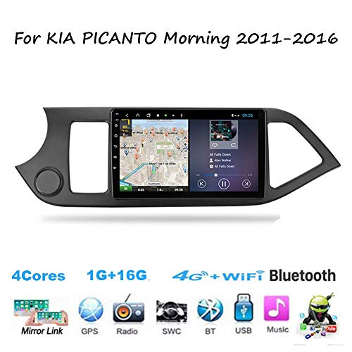Für KIA PICANTO Morgen 2011-2016 Navi Doppel-Din Auto Stereo Radio GPS Navigation 9 Zoll Touchscreen Head Unit Multimedia Player Videoempfänger WiFi Bluetooth