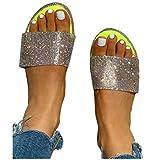 BIBOKAOKE Sandalias de mujer para verano, planas, sandalias, sandalias romanas, elegantes, con purpurina, chanclas ligeras, cómodas, zapatillas de verano, zapatos para el tiempo libre