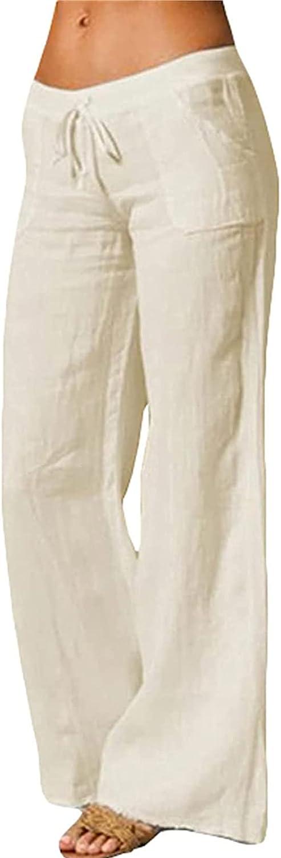 ZBRO Womens Plus Size Linen Pants Wide Leg High Waist Drawstring Pants Casual Pants with Pockets for Women Summer/Autumn