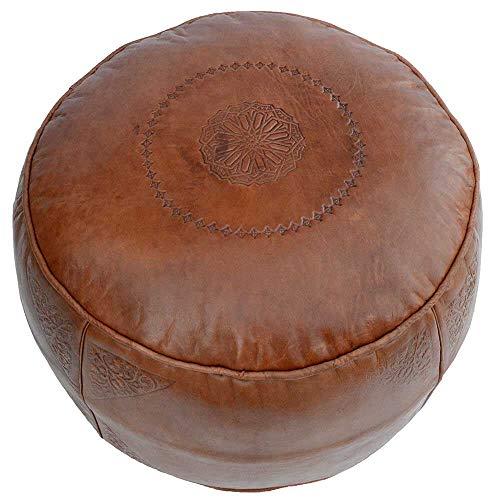 Leder Sitzpouf Pouf Sitzwüfel Sitzkissen Hocker Bodenkissen, Farbe Hellbraun, Ø 44 x H 33 cm, inklusive Füllung, Echtes Leder handmade Marokkanisch Asiatisch Vintage-Design