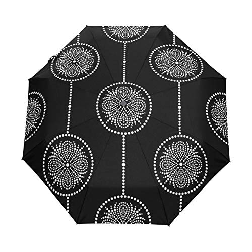 SUHETI Compact Travel Umbrella Windproof Automatic,Black White Seamless Garlands Pattern Mosaic,Waterproof Umbrella