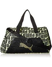 PUMA Womens At Ess Barrel Sports Bag, Black (Black/Yellow) - 07736504