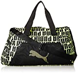 PUMA At ESS Barrel Bag Bolsa Deporte, Mujer, Puma Black/Fizzy Yellow, OSFA