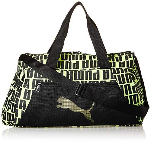 PUMA At ESS Barrel Bag Bolsa Deporte, Mujer, Puma Black/Fizzy Yellow, OSFA