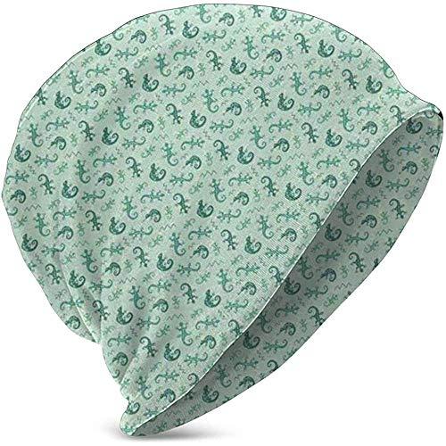 GodYo Kids zachte Slouchy Beanie Baggy Skull Hat, kleine hakken met chameleons Chevron zigzag versierd patroon, teeen gebreide muts stijl