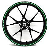 Felgenrandaufkleber GP-Design 16 Teilig Komplett-Set -Finest Folia passend für 17 Zoll & 16' 18' 19' Felgen Motorrad Auto Fahrrad (Neon Grün)