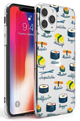 Hülle Warehouse Aquarell Sushi Pattern Beschriftete Slim Hülle kompatibel mit iPhone 11 Pro TPU Schutz Light Phone Tasche mit Klar Japanisch Lebensmittel Gemalten