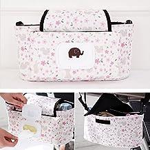 Organizador para carrito de bebé, bolso para  cochecito, bolso para pañales universal multifuncional con cremallera para silla de paseo, accesorio para cochecito de Guizen rosa Pinke Blume