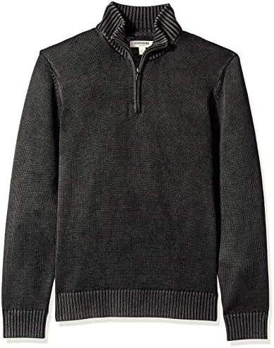Amazon Brand Goodthreads Men s Soft Cotton Quarter Zip Sweater Washed Black X Large product image