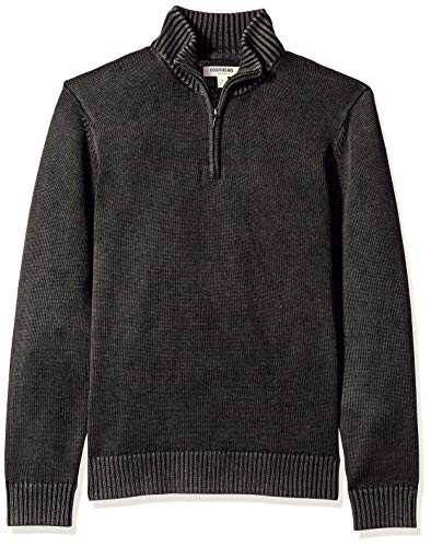 Amazon Brand - Goodthreads Men's Soft Cotton Quarter Zip Sweater, Washed Black, X-Small