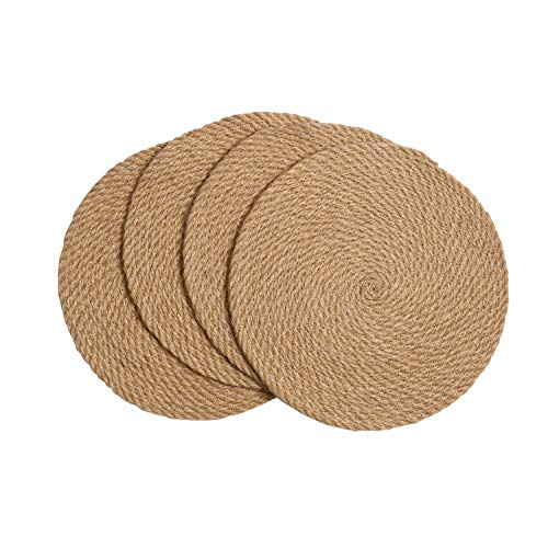SHACOS Set of 4 Hemp Rope round Placemat Straw Hemp Woven Insulation Thicken Table Mat Coaster Dish Mats Heat Insulation Non-slip Anti-fouling Scrub Placemats 4Pcs