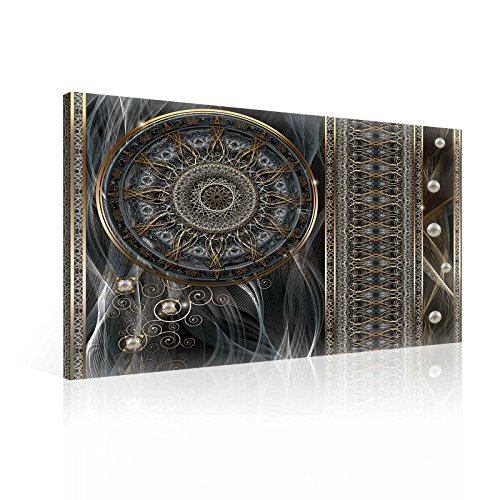 Cuadro Decorativo Lienzo Decoración Pared Panel – Mandala – ¡Elija su Tamaño! - Negro, Oro, Gris, Black, Gold, Grey, L - 31.5' x 23.6' (80 x 60 cm)