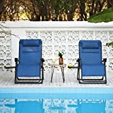 VONLUCE XL Zero Gravity Chairs w Cup Holders, Oversized Recliner Chairs w Adjustable Headrests, Reclinable Folding Chairs for Outdoors Bedroom More, Padded Camping Chairs, 350lb Cap, Set of 2, Blue