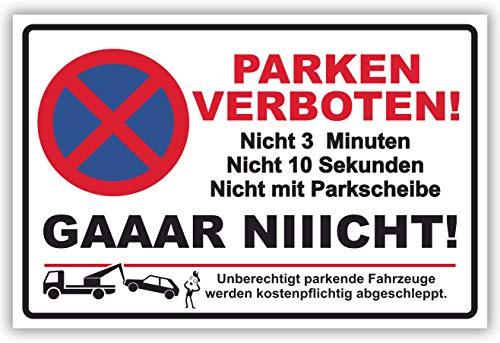 SCHILDER HIMMEL anpassbares Parken verboten Gaar Nicht Schild 21x15cm Kunststoff mit Klebestreifen, Nr 6446 eigener Text/Bild verschiedene Größen/Materialien