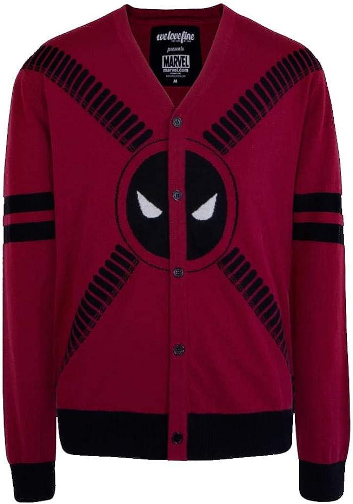 Deadpool Philadelphia Mall Symbol and Straps Max 43% OFF Small Cardigan- Men's