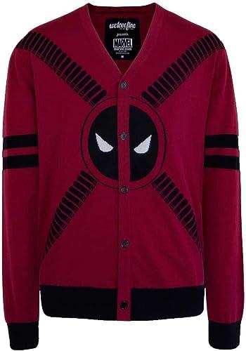 Deadpool 5 Button Adult Cardigan Sweater  Medium