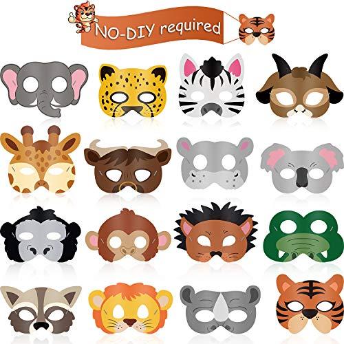16 Piezas Máscaras de Animal Favores de Fiesta de Disfraz de Animal con 16 Caras de Animales Diferentes para Fiesta Temática de Zoológico de Mascotas Casa de Campo Selva Safari Cumpleaños Halloween