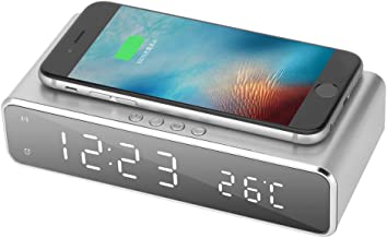 AUSHEN 目覚まし時計 ワイヤレス 置き時計 QI 充電機能 10W USB給電 android iphone充電器 温度 時間記憶 省エネ 日本語説明書付き