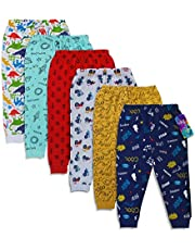 minicult Cotton Baby Pajama Pants Unisex with Rib(Pack of 6)(Assorted Prints Will be Sent)