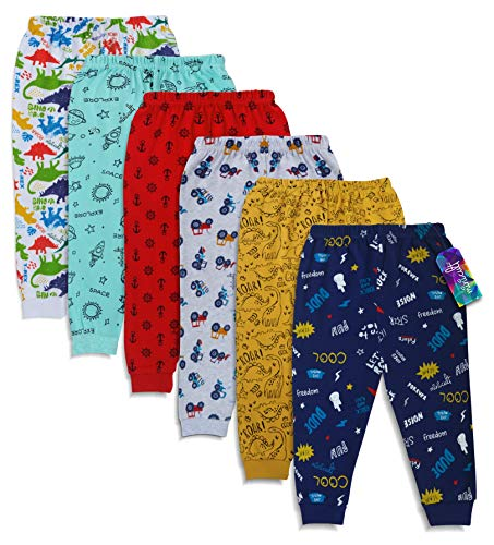minicult Unisex Kid's Cotton Regular Fit Pyjama Pants with Rib (Multicolour , 5-6 Years ) Pack of 6